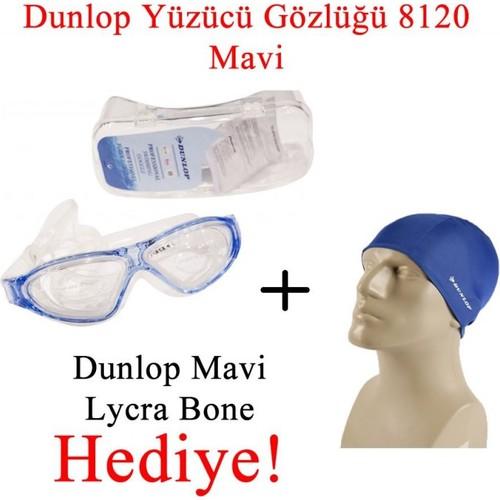 Dunlop Yüzücü Gözlüğü 8120 Mavi + Dunlop Siyah Lycra Bone Hediyeli