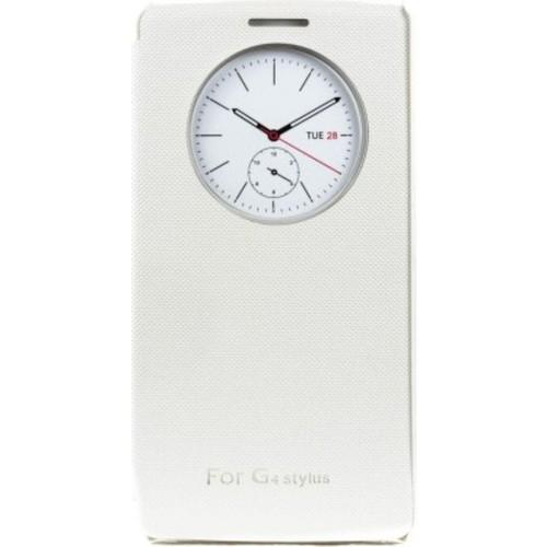 Case 4U LG G4 Stylus Flip Cover Beyaz (Uyku Modlu)
