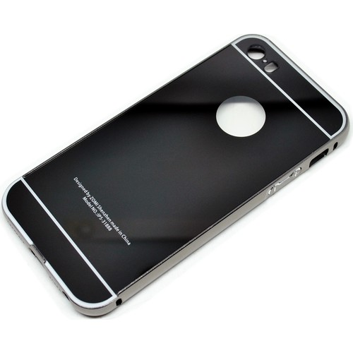 Case 4U Apple İphone 5 Aynalı Bumper Kapak Siyah