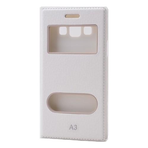 Case 4U Samsung Galaxy A3 Pencereli Kapaklı Kılıf Beyaz