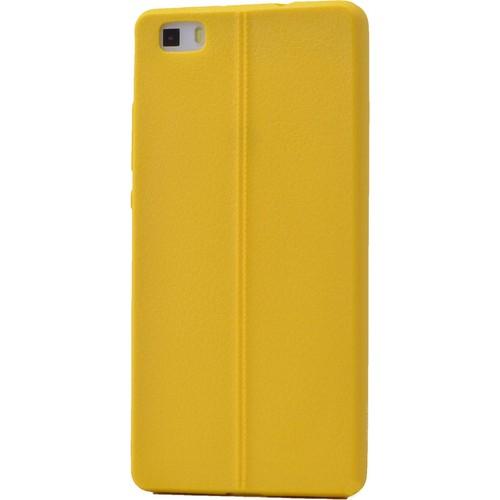 Case 4U Huawei P8 Desenli Silikon Kılıf Sarı