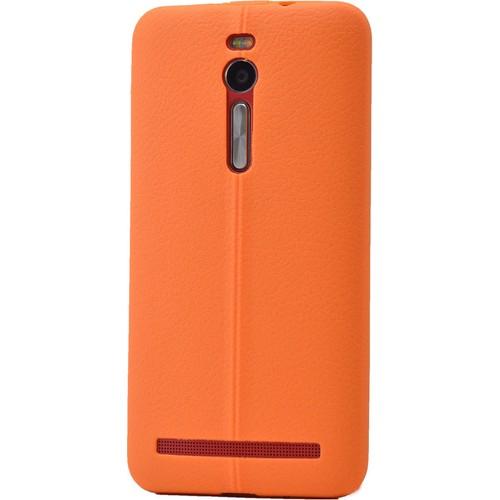 Case 4U Asus Zenfone 2 Desenli Silikon Kılıf Turuncu