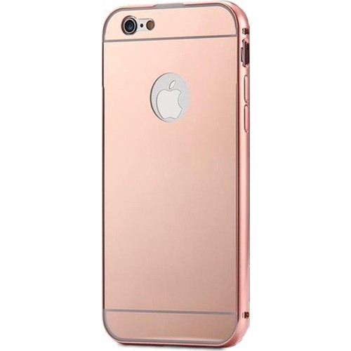 Case 4U Apple İphone 6 Plus Aynalı Bumper Kapak Rose Gold