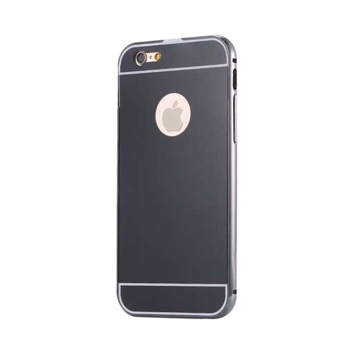 Case 4U Apple İphone 6 Plus Aynalı Bumper Kapak Siyah