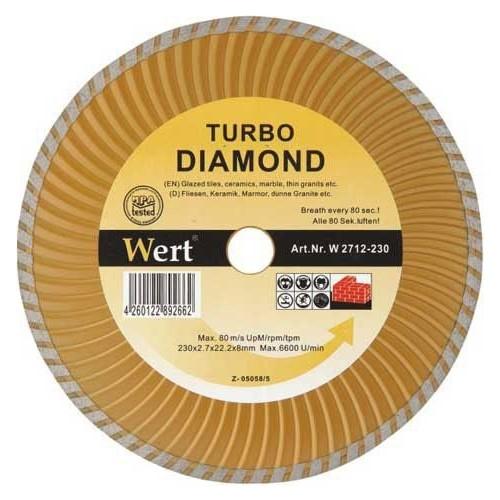 Wert 2712-230 Turbo Kanallı Elmas Testere (230Mm)