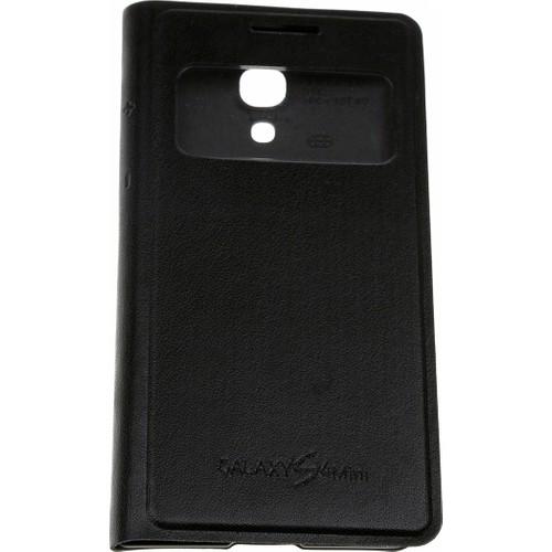 Case 4U Samsung Galaxy S4 Mini i9190 Pencereli Flip Cover Siyah