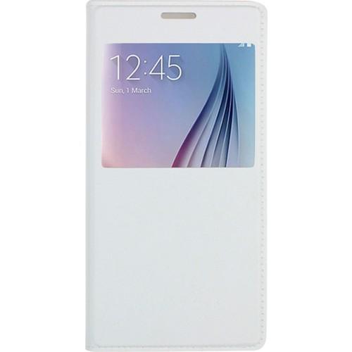 Case 4U Samsung Galaxy S6 Pencereli Flip Cover Kılıf Beyaz