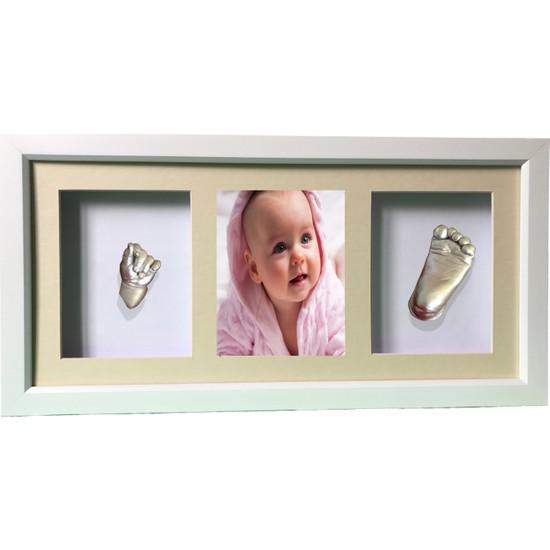 Küçük İzler Beyaz Çerçeveli Resimli 3 Bölmeli, Aljinat ile 3 boyutlu Bebek El-Ayak İzi Heykeli Kalıp Seti