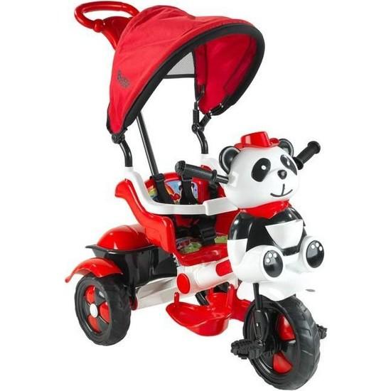 Babyhope 127 Little Panda Ebeveyn Kontrollü Tenteli Müzikli Tricycle Üç Teker Bisiklet- Kırmızı/Beyaz