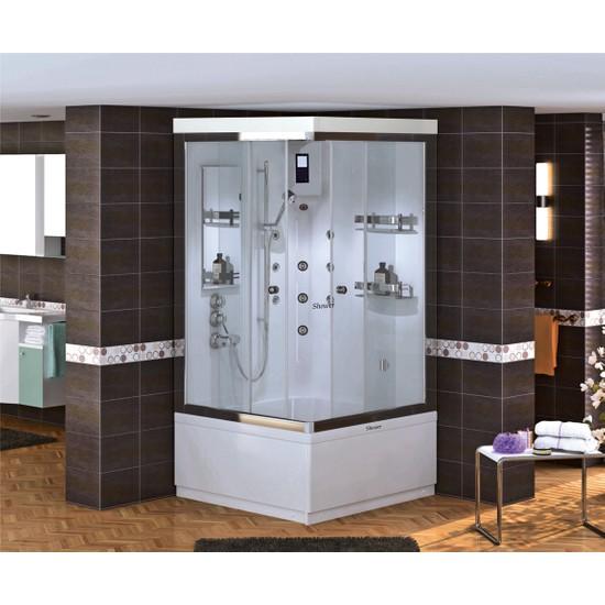 Shower Malın Kare Compact 100*100 - Sistem - Iıı - - İç Duvar Siyah