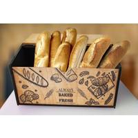 Alloro ahşap Kapaklı Desenli Ekmek Dolabı