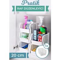 Maksi Pazar 3'lü Plastik Pratik Raf Düzenleyici Sepet 20 cm