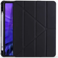 """Apple iPad 8. Nesil 10.2"""" Kılıf + Kalem Uyku Modlu Kalem Bölmeli Arkası Yumuşak Silikon Smart Standlı Kapaklı Tri Folding Tablet Kılıfı Siyah"""