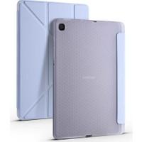 """Samsung Galaxy Tab S6 Lite SM-P610 10.4"""" Kılıf + Kalem Uyku Modlu Kalem Bölmeli Arkası Yumuşak Silikon Smart Standlı Kapaklı Tri Folding Tablet Kılıfı Mavi"""