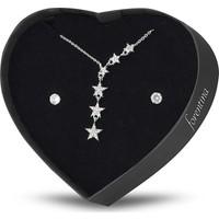 Forentina Gümüş Kaplama Sallantılı Yıldız Kolye Küpe Kalpli Kutu PS1425