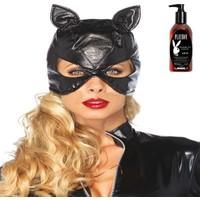 Leg Avenue Deri Kedi Kız Maskesi ve Playboy Masaj Yağı