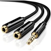 Ugreen Mikrofon ve Kulaklık Ayırıcı 3.5mm Y Kablo Siyah