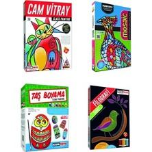 Kumtoys Cam Vitray + Mosaic Kabartma + Taş Boyama + Filografi Sanatı 4'lü Set