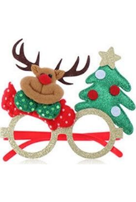 Cakes Party Yılbaşı Noel Gözlük Geyikli Simli Çerçeve