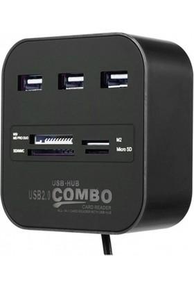 Concord C-847 Kart Okuyucu ve 3 USB 2.0 Çoklayıcı