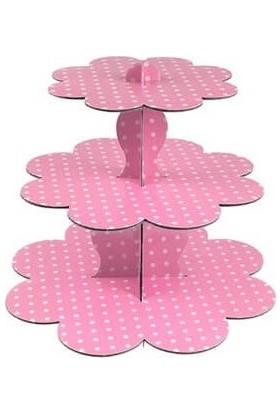 Bkr Kek Standı 3 Katlı Karton Cupcake Standı Pembe Puantiyeli