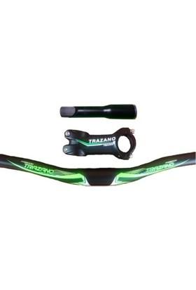 Trazano Bisiklet Alüminyum Gidon ve Boğaz Seti (Gidon- Gidon Boğazı- Dikme) 3 Parça Yeşil