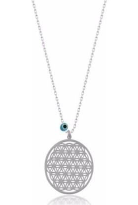 Gümüş Kanat Yaşam Çiçeği Nazar Boncuklu Gümüş Kolye
