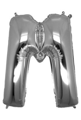 Acar Süs Gümüş Renk M Harfi Folyo BALON(16INÇ) 40 cm
