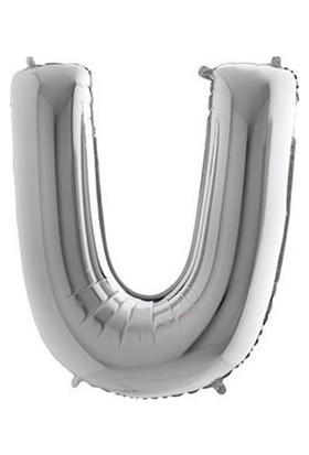 Acar Süs Gümüş Renk U Harfi Folyo BALON(16INÇ) 40 cm