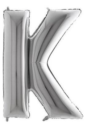 Acar Süs Gümüş Renk K Harfi Folyo BALON(16INÇ) 40 cm