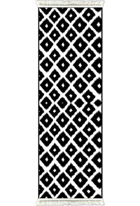 Prizma 6016 İkat Desen Siyah & Beyaz 80 x 300 cm Kaydırmaz Halı