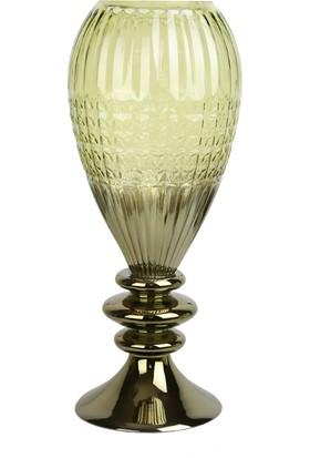 The Mia Yeşil Cam Çiçeklik - Vazo 50 cm