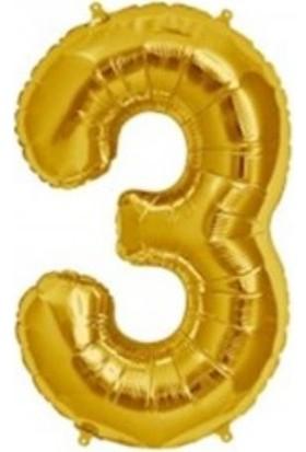 Acar Süs Altın Renk 3 Rakamı Folyo Balon 16 İnç 40 cm