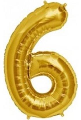 Acar Süs Altın Renk 6 Rakamı Folyo Balon 16 İnç 40 cm