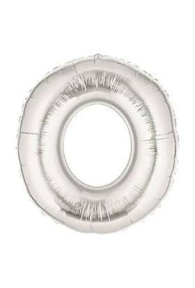 Acar Süs Gümüş Renk 0 Rakamı Folyo Balon 16 İnç 40 cm