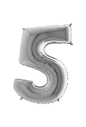 Acar Süs Gümüş Renk 5 Rakamı Folyo Balon 40 İnç 100 cm