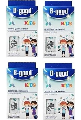 B-Good Kids Desenli Çocuk Maskesi 10'lu 4 Kutu