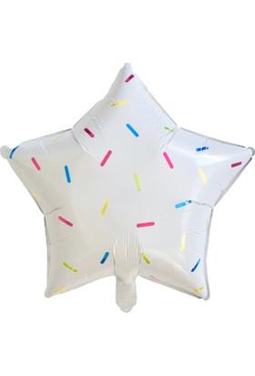 Ohlala Party Yıldız Şeklinde Beyaz Üzerine Renkli Süslemeli Balon