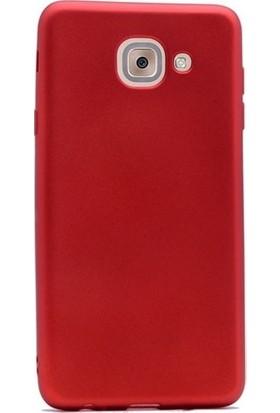 CepArea Samsung Galaxy J7 Max Kılıf Ince Renkli Yumuşak Silikon Kapak Case + Kırılmaz Cam Kırmızı