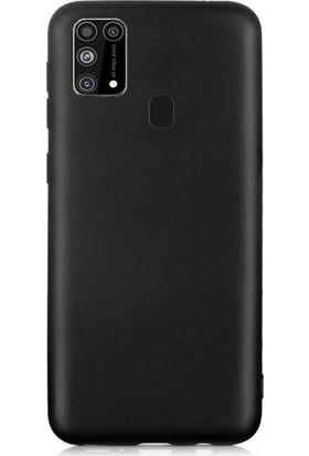 CepArea Samsung Galaxy M21 Kılıf Ince Renkli Yumuşak Silikon Kapak Case + Kırılmaz Cam Siyah