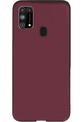 CepArea Samsung Galaxy M21 Kılıf Ince Renkli Yumuşak Silikon Kapak Case + Kırılmaz Cam Mürdüm