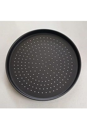 Alkoy Granit Delikli Pizza Tepsisi 34 cm Siyah