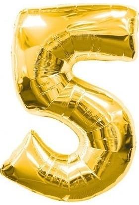 Acar Süs Altın Renk 5 Rakamı Folyo BALON(40INÇ) 100 cm