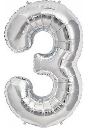Acar Süs Gümüş Renk 3 Rakamı Folyo BALON(40INÇ) 100 cm