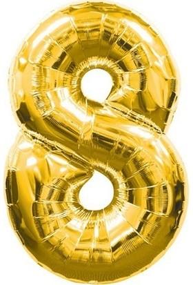 Acar Süs Altın Renk 8 Rakamı Folyo BALON(40INÇ) 100 cm