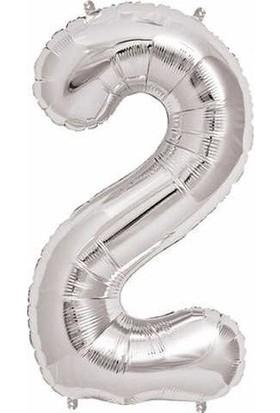 Acar Süs Gümüş Renk 2 Rakamı Folyo BALON(16INÇ) 40 cm
