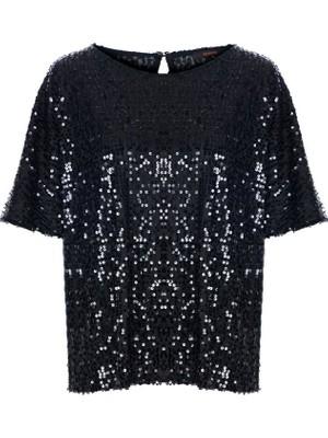 Gusto Pul Payet Bluz - Siyah