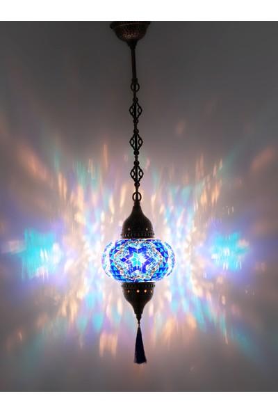 Atölye Lamp Design Mozaik Tekli Mavi Çiçek Sarkıt Lamba