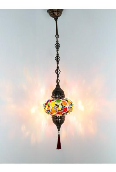 Atölye Lamp Design Mozaik Tekli Papatya Desenli Sarkıt Lamba