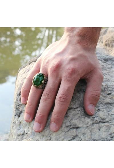 Kovan Vav Yazılı Kristal Kesim Yeşil Zirkon Taşlı 925 Ayar Gümüş Erkek Yüzük